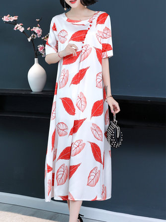 Women Floral Print O-neck A-line Dress