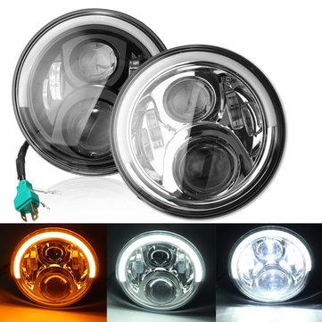 7inch Angel Eyes LED HI/LO Beam DRL Turn Signal Headlight For Harley Davidson/Jeep Cherokee