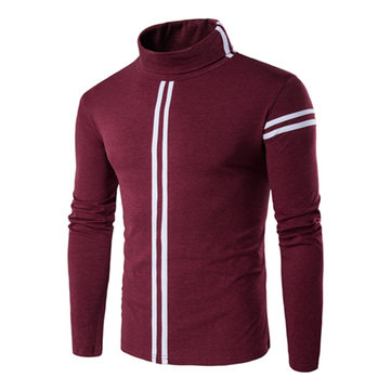 Mens Fashion Striped Turtleneck T-shirt Elastic Slim Fit Long Sleeve Tops
