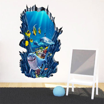 Honana 3D Seafloor Ocean Wall Stickers Home Decor Mural Art Removable Ocean World Decor Sticker