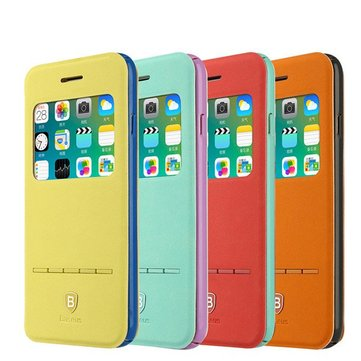 BASEUS Terse Young Flip View Window Case Holder Protective Cover For Apple iPhone 6 Plus 6S Plus 5.5