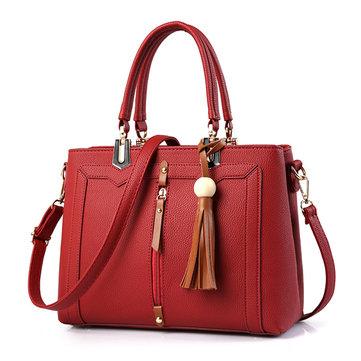 Women Tassel Faux Leather Leisure Handbag Solid Crossbody Bag Shoulder Bag