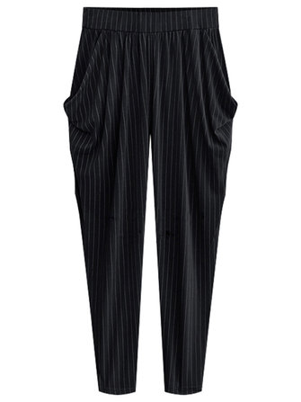 Plus Size Casual Women Side Pockets Stripe Harem Pants