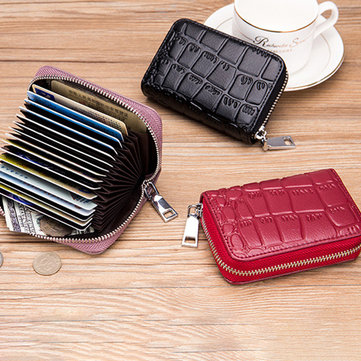Women Genuine Leather Stone Pattern 16 Card Slots Card Holder Wallet Coin Purse