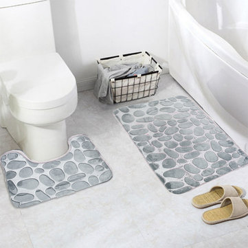 Honana 2Pcs 3D Stone Memory Foam Bath Mats Set Anti-slip Floor Mat Absorbent Bathroom Toilet Rugs