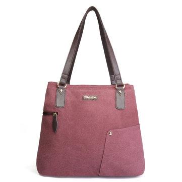 Brenice Canvas Handbag Minimalist Fashion Large Capacity Shopping Bag Shoulder Bag
