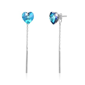 925 Sterling Silver Sapphire Crystal Heart Ear Stud Charm