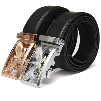 Men Eagle Pattern Second Floor Cowhide Belt Automatic Buckle Business Strap