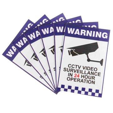6pcs คำเตือนกล้องวงจรปิดการเฝ้าระวังความปลอดภัย กล้อง สติกเกอร์สติ๊กเกอร์คำเตือนเครื่องหม