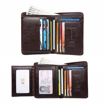 Men Genuine Leather Outdoor Casual Multi-function 10 Card Slots Wallet