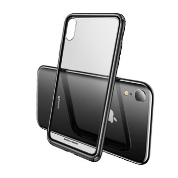 Baseus Clear Scratch Resistant Tempered Glass Back Cover+Soft TPU Frame Protective Case For iPhone XR 6.1