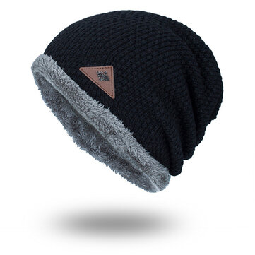 Mens Winter Plus Velvet Knit Beanie Hat Solid Outdoor Warm Good Elastic Skull Caps