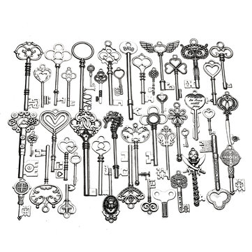 45 pcs Vintage Ornate Skeleton Keys Lot Pendant Fancy Heart DIY Crafts