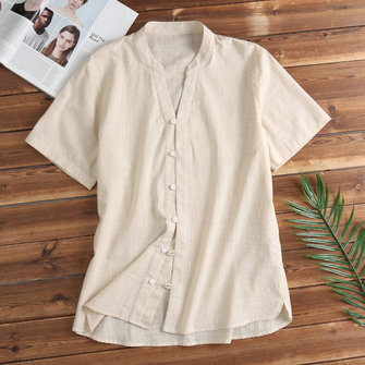 TWO-SIDED V-ringad V-Neck Solid Short-Sleeve Cotton Casual Loose Shirts