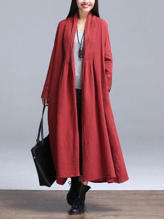 Vintage Women Loose Pleated Pure Color Open Front Long Sleeve Coats