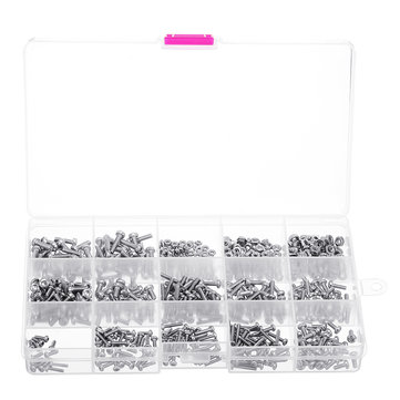 Suleve™ MXST1 480Pcs M2/M2.5/M3 Torx Machine Screw 304 Stainless Steel Pan Head Bolt Nut Assortment