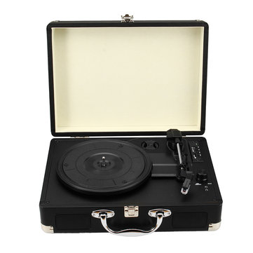 Vintage Suitcase Phonograph Bluetooth USB SD FM Turntable Speaker Vinyl Record Player