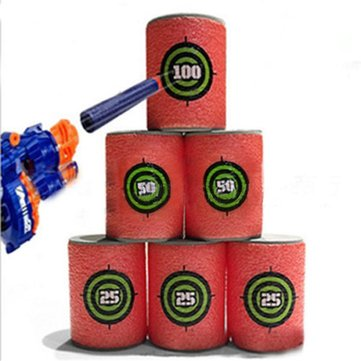 6pcs eva suave objetivo de bala disparar pistola de dardos de Nerf N-Strike juguete del cabrito desintegrador de élite