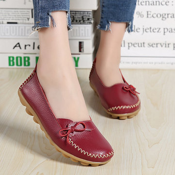 Larger Size Women Casual Shoe Leather Comfy Flat Loafers