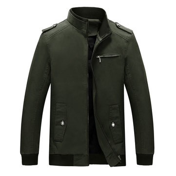 Mens Fall Winter Epaulet Decoration Solid Color Casual Jacke