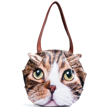 Women Girls Vivid Cute 3D Cat Head Face Crossbody Bag
