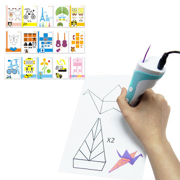 15PCS 3D Printing Pen Double-sided Papers + Transparent Template Copy Graffiti Board Suit for Kids