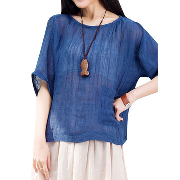 Loose Women Batwing Sleeve Solid Pocket Cotton Linen T-shirt