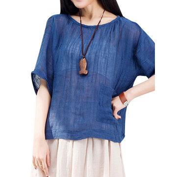 Mulheres soltas batwing bolso algodão sólida t-shirt roupa de manga