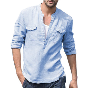 Men's 100% Linen Breathable Stand Collar Double Pockets Casual Long Sleeve Shirts