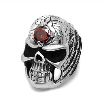 Halloween Skull Jewelry Red Zircon Scupture Skull Biker Ring Punk Rocker Ring for Men