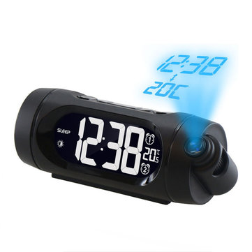 FM Radio Alarm Clock LED Digital Electronic Desk Table Projector Watch With Night Light Snooze Clock