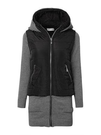 Slim Knit Patchwork Long Sleeve Hood Coat