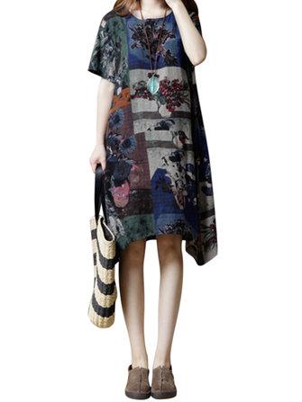 Повседневный Женское Шаблон Отпечатанные ажурные платья