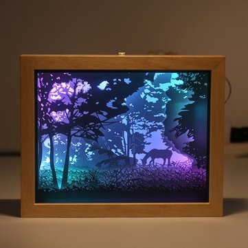 Colorful 3D Paper Picture Frame Shadow USB Night Light Gift for Home Office Wedding Birthday Decor
