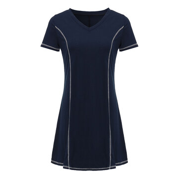 Casual Women V Neck Short Sleeve Stitching Party Mini Dress