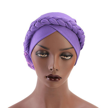 Women Vintage Ethnic Style Braid Breathable Turban Cap Cotton Flexible Headband