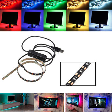 50CM SMD3528 LED Flexible Strip Tape Light USB Switch Lamp PC TV Background Lighting DC5V