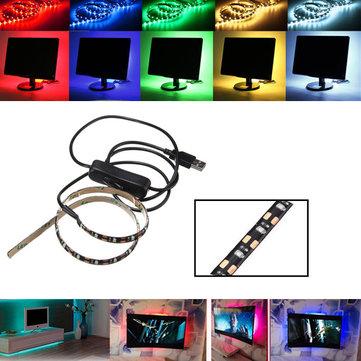 50CM SMD3528 LED Flexible Strip Tape Light USB Switch Lamp PC TV Background Lighting DC5V