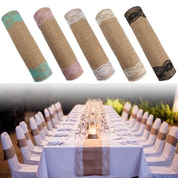 5 Colors Jute Rustic Burlap Lace Table Runner Wedding Party Banquet Decorations
