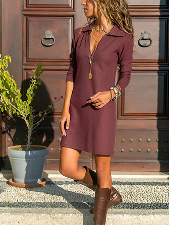 Women Solid Color Deep V-Neck Long Sleeve Dress