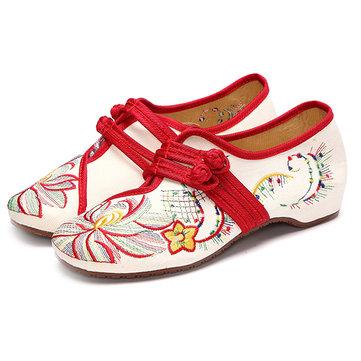 Размер США 5-12 Женщины Повседневная Вышивка Цветочные скольжения на открытом воздухе плоских обувь