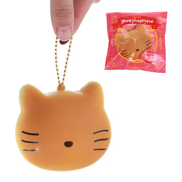Meistoyland Squishy Cat Kitty Slow Rising Straps Squeeze Toy With Chain Original Packaging