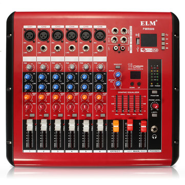 PMR606 6 Channel Professional Mixer USB Small DJ Karaoke KTV Power Amplifier Mixer Mixing Console