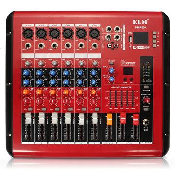PMR606 6 Channel Professional Mixer USB Small DJ Karaoke KTV Power Amplifier Mixer Mixing Console