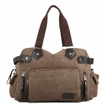Women Men Canvas Bag Vintage Multi Pocket Shoulder Messenger Bag