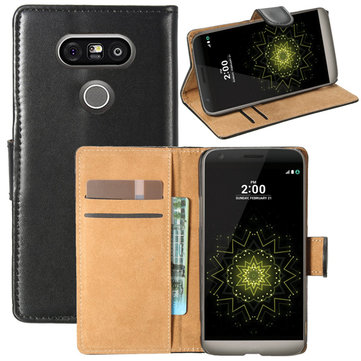Mohoo Black Flip PU Leather Wallet Card Case Cover Skin Stand For LG G5