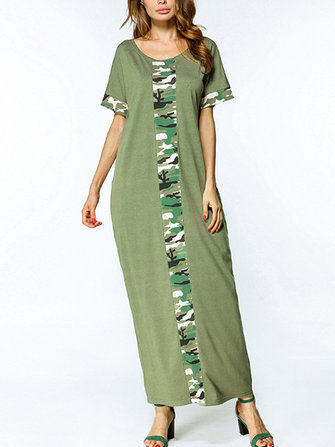 S-5XL Women Casual Long Dress Camouflage Printed Dresses