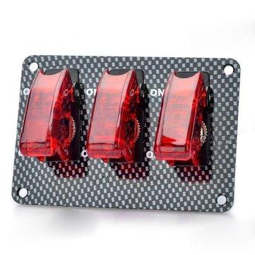 Car Rocker Toggle Switch Modification Trio Carbon Fiber ON-OFF Red Light 20A 12V