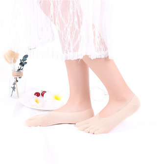 Women Summer Breathable Crystal Five Tube Socks