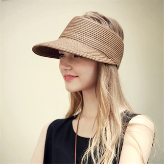 Women Summer Outdoor Foldable Straw Hat Breathable Wide Brim Sunscreen Empty Top Hat